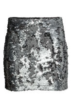 Short sequined skirt - Dark grey - Ladies | H&M CN 2